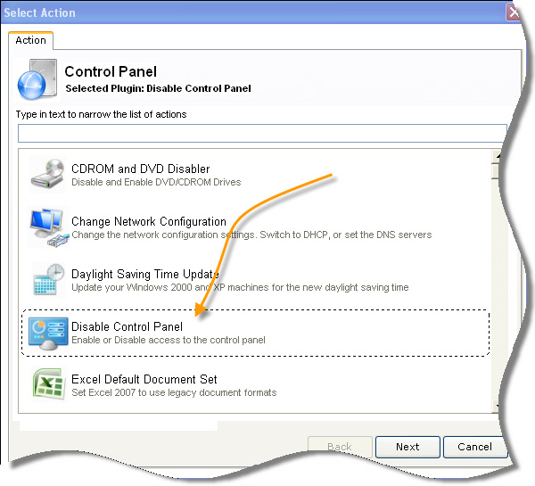 Network Administrator Disable Control Panel Plugin